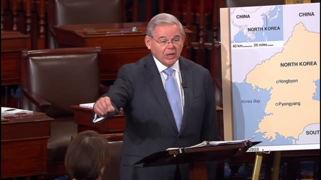 new jersey senator robert menendez says that a a comprehensive sanctions bill against north korea addresses its cyber security threat, adoption of... - united states congress stock videos & royalty-free footage