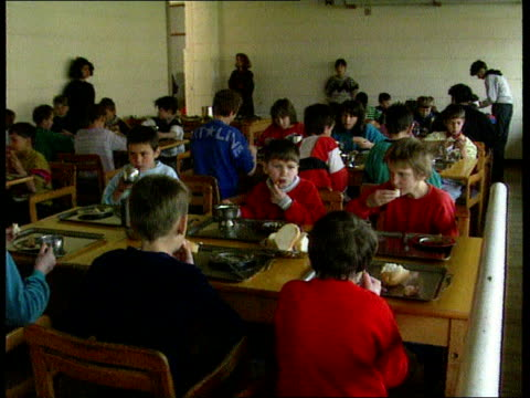 new joint un mediator bosnia herzegovina tuzla ms refugees off lorry from srebrenica int ms refugee children in canteen as eating cms child as eating... - srebrenica stock videos and b-roll footage