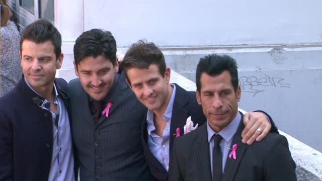 New Kids On The Block posing for pictures at New Kids On The Block honored with star on the Hollywood Walk of Fame in Hollywood CA on