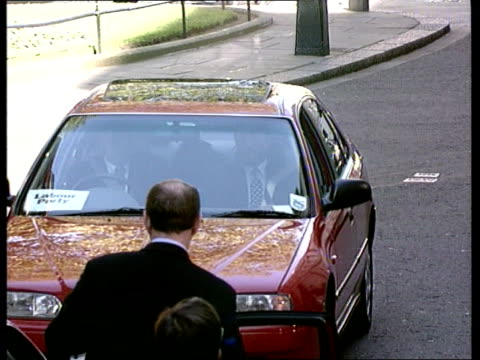downing st blunkett's daimler towards and stops blunkett out - 1997 stock videos & royalty-free footage