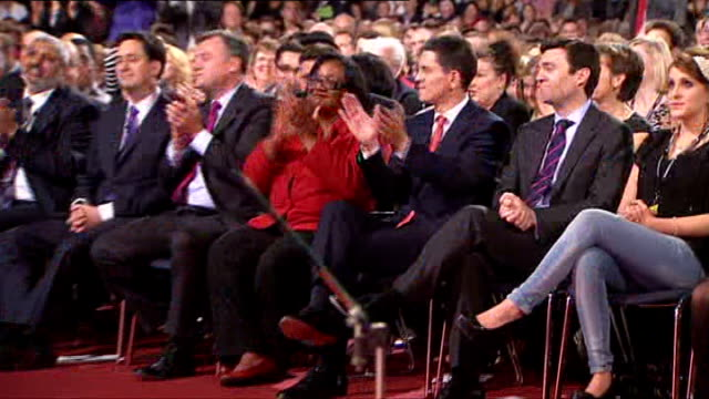 new labour party leader ed miliband says union leaders need to act responsibly lib photography** david miliband applauding as ed miliband announced... - ed miliband stock-videos und b-roll-filmmaterial