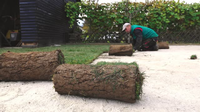 new lawn installation - landscaped stock videos & royalty-free footage