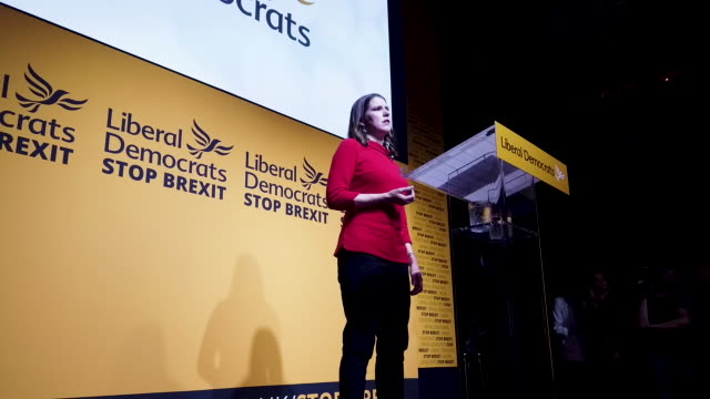 new liberal democrat leader jo swinson addresses the audience onstage at proud embankment on july 22 2019 in london england former deputy jo swinson... - british liberal democratic party stock videos and b-roll footage