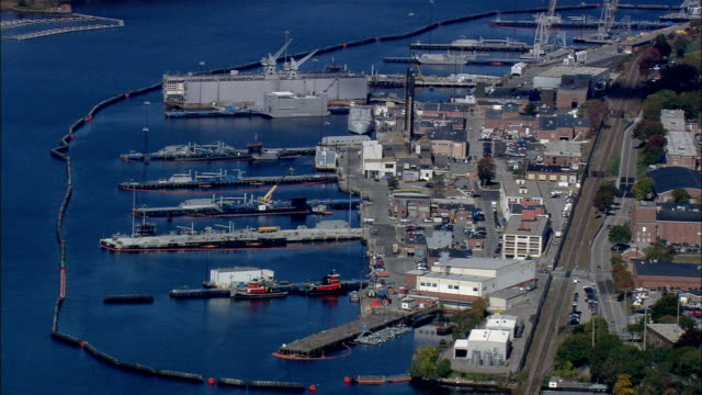 new london naval submarine base  - aerial view - connecticut,  new london county,  united states - new london county connecticut stock videos & royalty-free footage
