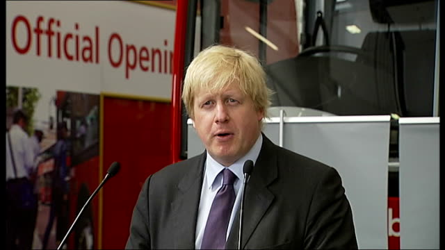 new london routemaster bus unveiled by boris johnson england london battersea bus depot photography ** boris johnson arriving into garage with peter... - spanking stock videos and b-roll footage