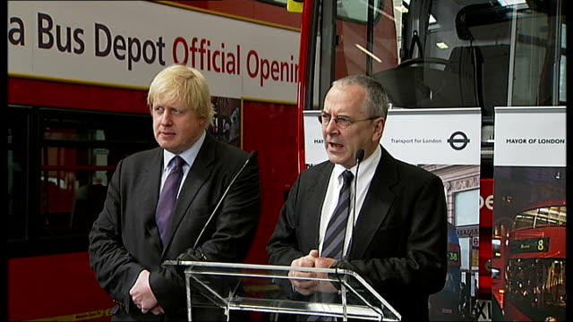 new london routemaster bus unveiled by boris johnson; johnson introduces peter hendy sot peter hendy speech sot - it's 60 years since we did bus... - trivia stock videos & royalty-free footage