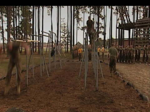 new marines training on an assault course parris island south carolina \ndecember 2009 - 2000s style stock videos & royalty-free footage