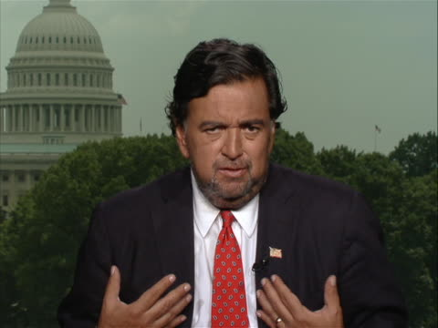 new mexico gov bill richardson comments on harsh immigration legislation being proposed by the state of arizona in remote interview from washington... - メキシコ系アメリカ人点の映像素材/bロール