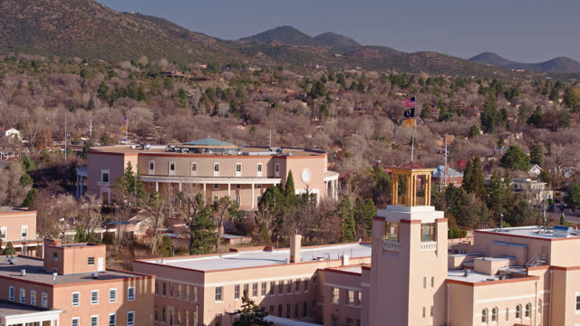 new mexico state capitol building in santa fe - aerial - new mexico stock videos & royalty-free footage