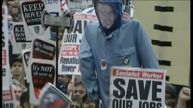 new mg6 launched at longbridge 2000 workers carrying placards protesting at sale of mg rover gvs workers along in protest march - longbridge stock videos & royalty-free footage