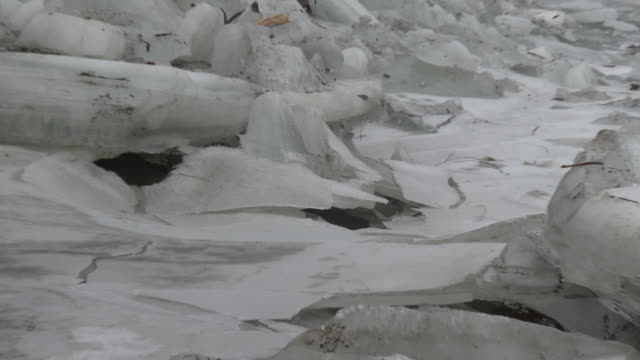 New Milford Connecticut Water drips from large slabs of ice on the banks of the Housatonic River Camera pulls back to reveal a major ice jam on the...