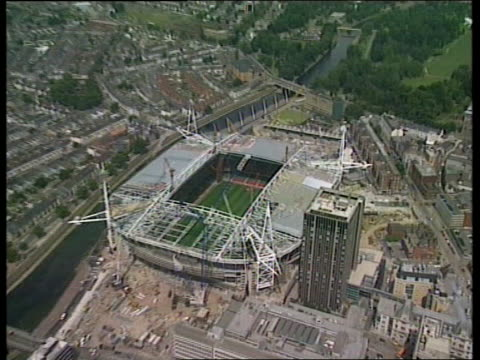 new millennium stadium new millennium stadium itn cardiff new millennium stadium pull out ms water in pond pull out stadium gv interior stadium still... - millennium stadium stock videos & royalty-free footage