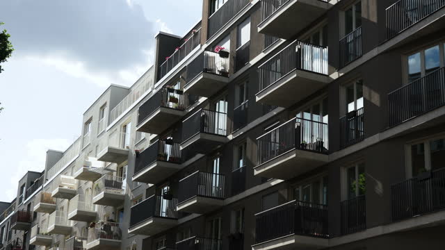 new modern apartment buildings in berlin, germany - detached stock videos & royalty-free footage