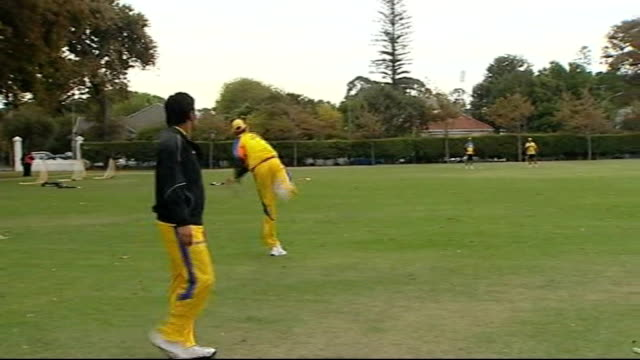 new 'mongoose' cricket bat 1642009 cape town various shots of chennai super kings cricketers practising in nets - channel 4 news stock videos & royalty-free footage