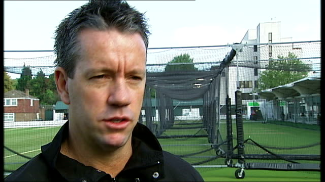 new 'mongoose' cricket bat england london lords cricket ground stuart law interview sot - lords cricket ground stock videos and b-roll footage