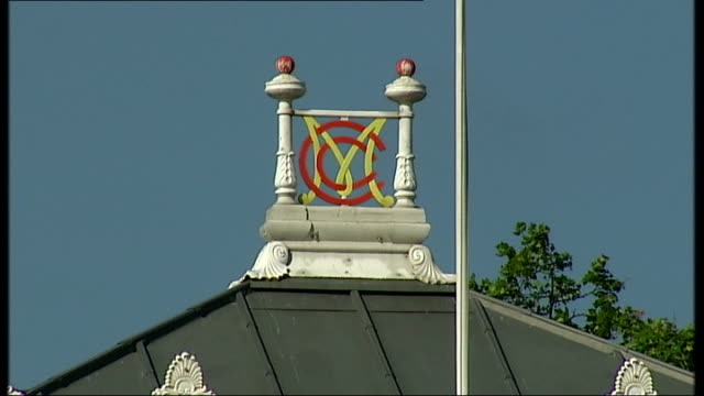 new 'mongoose' cricket bat mcc sign over marylebone cricket club and new lords stand - channel 4 news stock videos & royalty-free footage