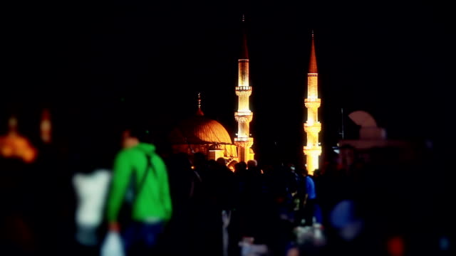 hd: new mosque; walking across galata bridge - ramadan stock videos & royalty-free footage