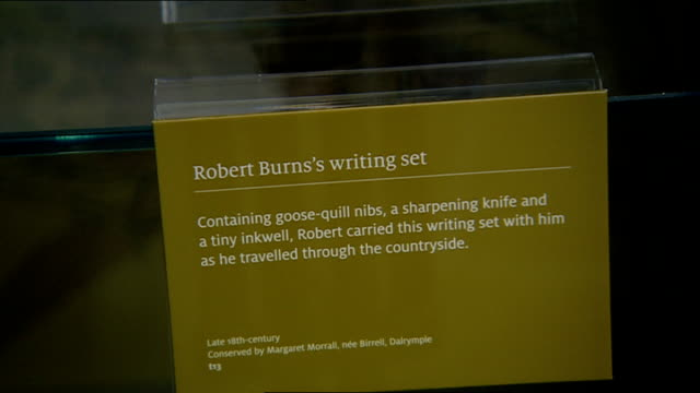 new museum dedicated to the poet robert burns opens robert burns birthplace museum building / sculptures on plinths outside museum standing on snow... - manuscript stock videos and b-roll footage