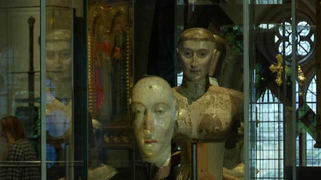 new museum opened at westminster abbey marriage license tilt down the archbishop of canterbury's seal wooden throne funeral effigies in glass cases... - archbishop of canterbury stock videos & royalty-free footage