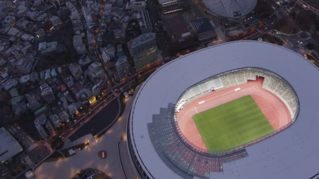 new national stadium light up aerial,tokyo,japan - shinjuku ward stock videos & royalty-free footage