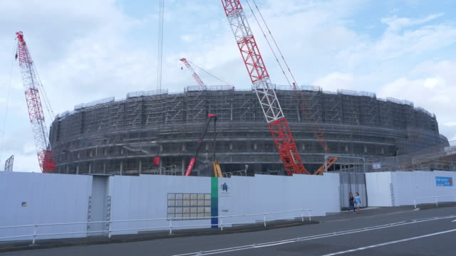 new national stadium under construction in tokyo - the olympic games stock videos & royalty-free footage