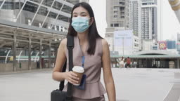 New Normal Wear a protective mask, Asian woman, office worker Walking outside the office.
