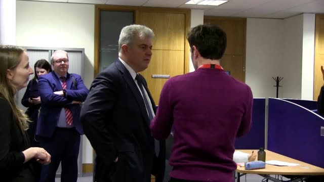 new northern ireland secretary brandon lewis on his first engagement in the region at queen's university's centre for secure information technologies... - secretary stock videos & royalty-free footage