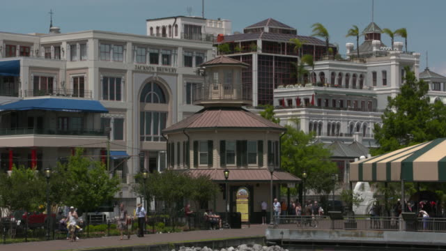 WGNO New Orleans Mississippi River Paddleboat Natchez Dock and Ticket Buildings on April 11 2017
