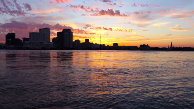 new orleans skyline along the mississippi river - new orleans stock videos and b-roll footage