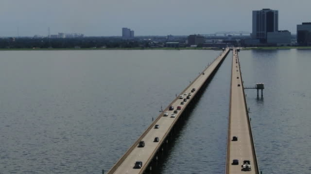 WGNO New Orleans LA US Aerial view of Lake Pontchartrain Causeway in Louisiana United States on Monday August 5 2019