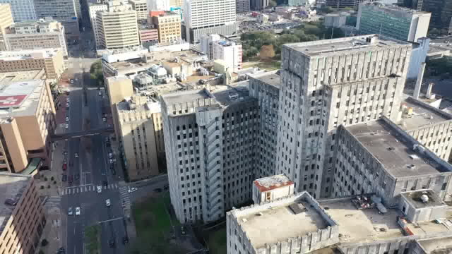new orleans, u.s. - charity hospital in new orleans, aerial view of abandoned building on thursday, january 28, 2021. - ghost town stock videos & royalty-free footage