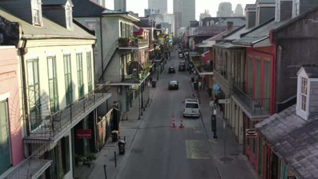 new orleans, u.s. - drone view of french quarter with empty royal street during covid-19 pandemic, on thursday, march 26, 2020. - new orleans stock videos & royalty-free footage