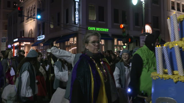 new orleans, u.s., - krewe parade, the city's official beginning of mardi gras season on saturday, january 6, 2018. - bagpipes stock videos & royalty-free footage