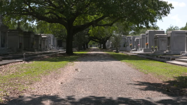 WGNO New Orleans LA US Marble mausoleums and tombs at Metairie Cemetery on Friday May 5 2017