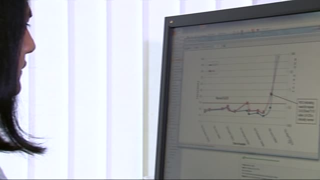 new ovarian cancer blood test; london: university college london: various of professor usha menon working at computer professor usha menon interview... - 卵巣点の映像素材/bロール