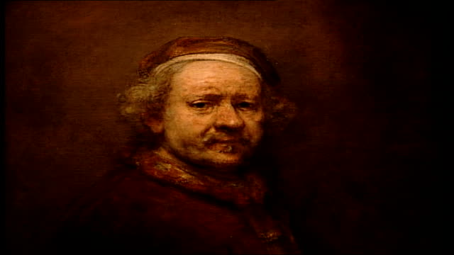'the night watch' amsterdam rijksmuseum int close up of rembrandt van rijn self portrait painting - peter greenaway stock videos & royalty-free footage