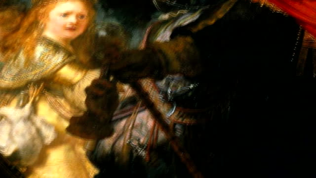 'the night watch' detail of 'the night watch' painting tilt up to show musket being fired sot - peter greenaway stock videos & royalty-free footage