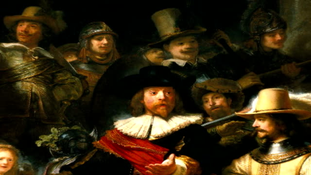'the night watch' netherlands amsterdam rijksmuseum int * * music overlaid on the following shots * * close up of rembrandt van rijn's 'the night... - peter greenaway stock videos & royalty-free footage