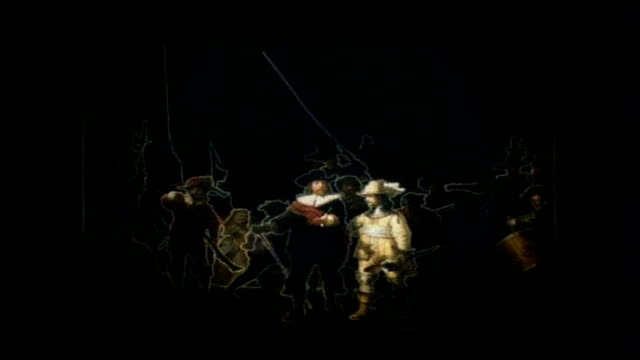 'the night watch' 'nightwatching' an installation by peter greenaway offering a theatrical perception of rembrandt's 'the night watch' - peter greenaway stock videos & royalty-free footage