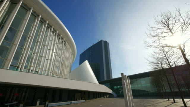 new philharmonic hall and congress centre on kirchberg in luxembourg city, grand duchy of luxembourg - concert hall stock videos and b-roll footage
