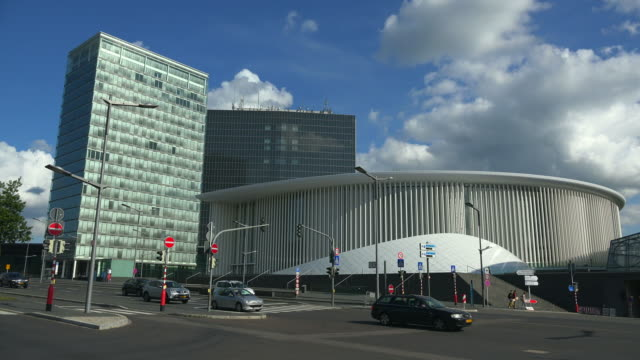 vidéos et rushes de new philharmonic hall in kirchberg, luxembourg city, luxembourg, europe - grand duché du luxembourg