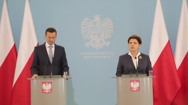 New Polish minister of finance Mateusz Morawiecki and Prime Minister of Poland Beata Szydlo during the press conference in Warsaw Poland on 29...