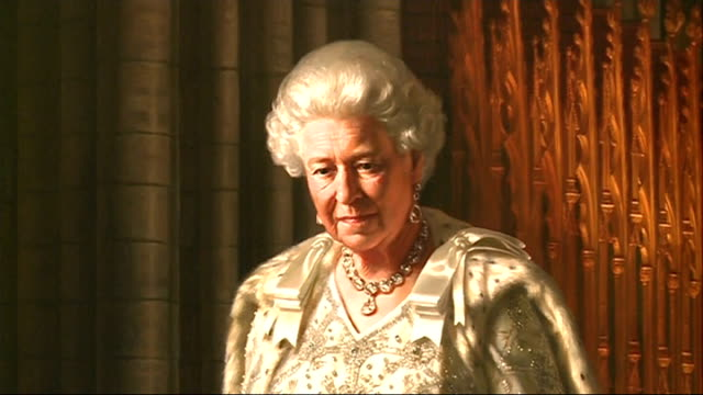 new portrait of queen elizabeth ii displayed in westminster abbey; london: westminster abbey: int the very reverend doctor john hall interview sot... - westminster abbey stock videos & royalty-free footage