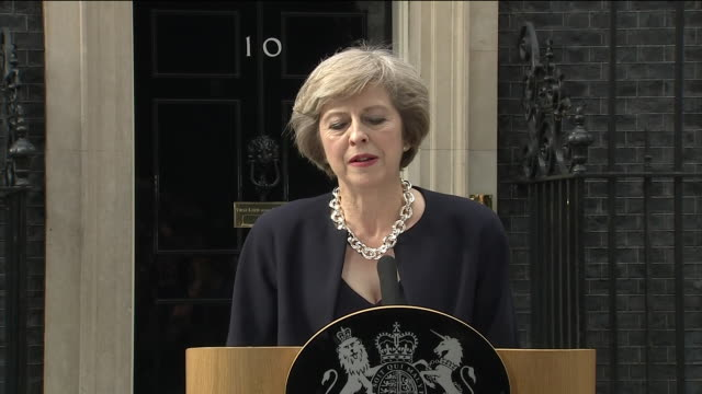 new prime minister theresa may praising david cameron, the union of the united kingdom and unity of its citizens in her first speech as leader - premierminister stock-videos und b-roll-filmmaterial