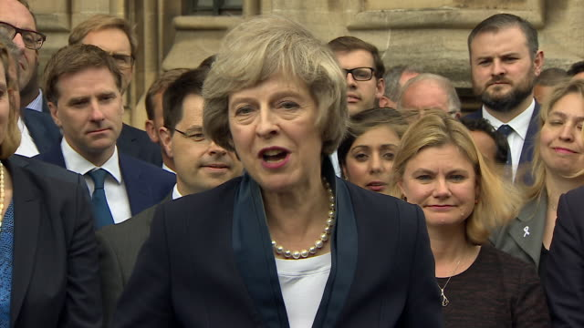 "new prime minister theresa may saying ""brexit means brexit"" and ""together, we will build a better britain"" - brexit stock videos & royalty-free footage"