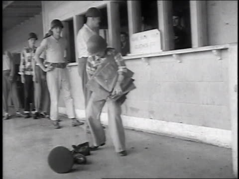 1951 ws new recruits at lackland air force base picking up supplies / san antonio, texas, united states - lackland air force base stock videos and b-roll footage