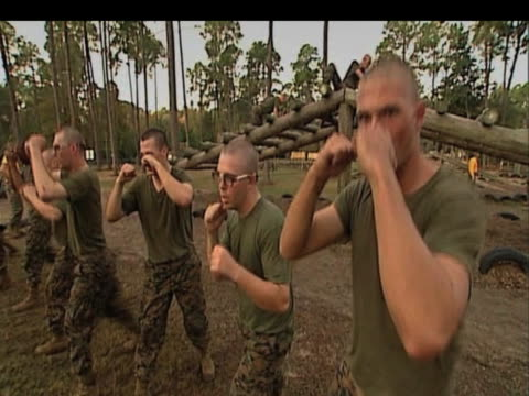 New recruits receive their basic training with US Marines Parris Island South Carolina nDecember 2009