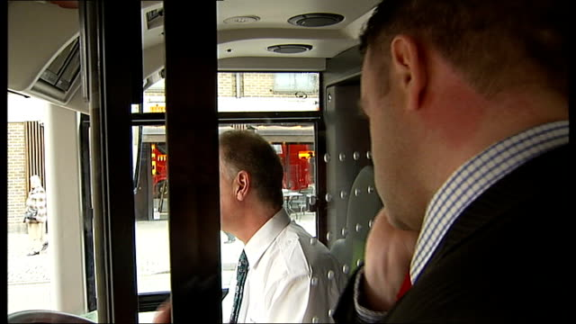 new routemaster london bus launch: maiden voyage hit by technical issues; vox pops passengers packed in tightly on crowded bus transport for london... - top of the pops stock videos & royalty-free footage