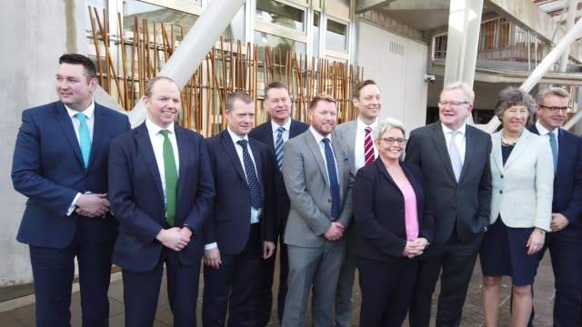 new scottish conservative leader jackson carlaw and his newly-announced shadow cabinet team outside the scottish parliament, on february 18, 2020 in... - member of the scottish parliament stock videos & royalty-free footage