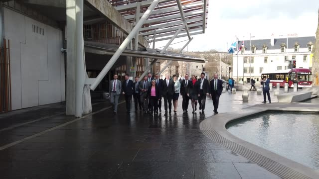 new scottish conservative leader jackson carlaw and his newly-announced shadow cabinet team outside the scottish parliament, on february 18, 2020 in... - cabinet stock videos & royalty-free footage